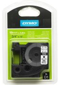 Tape DYMO D1 19mm Nylon svart på vit